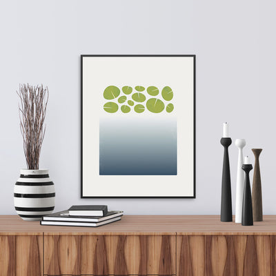 "Framed version of a limited edition print ""Surface"", based on the depths of a lily pond. Limited edition archival art print. by Janet Taylor 