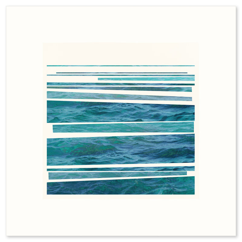 White framed version of 'Syncopated Shore', a striking graphic print of the rhythm of waves breaking on the shore, by Janet Taylor | Household Art.