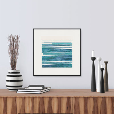 Framed version of 'Syncopated Shore', a striking graphic print of the rhythm of waves breaking on the shore, by Janet Taylor | Household Art.