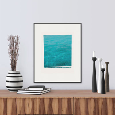 "Framed version of fine art print ""Wave"", A wave crashing down, frothing at the bottom, by Janet Taylor 