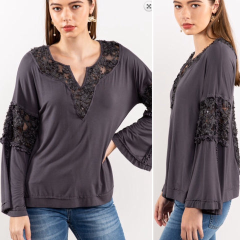 Kristin Soft & Sweet Lace Trim Boho Top