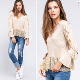 Preston Romantic Vintage Inspired Boho Cowgirl Lace Top