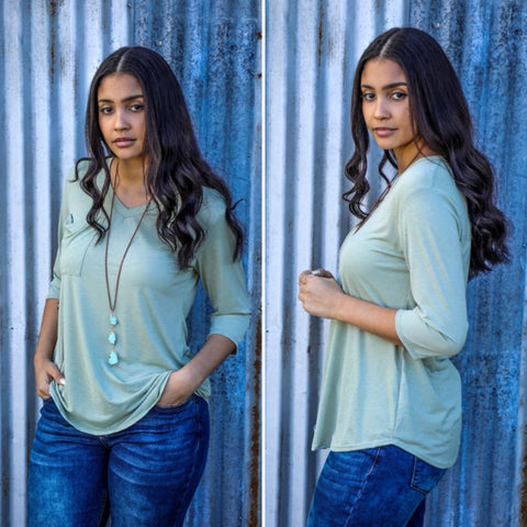 Emma Adorable 3/4 Sleeve Pocket Top in Sage