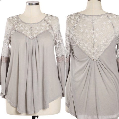 Noelle Romanic Lace Bohemian Top in Lightest Gray