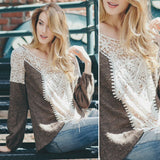 Andrea Romantic Vintage Inspired Lacy Boho Top/Sweater