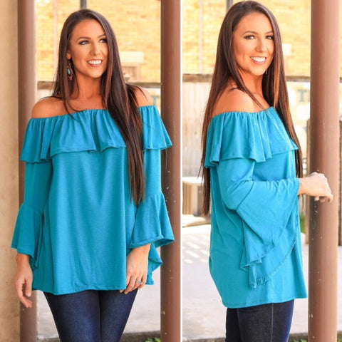 Georgia Flirty & Fun Off Shoulder Top in Turquoise