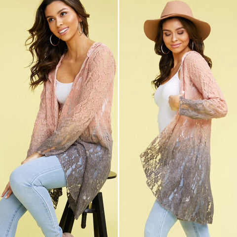 Faith Stunning Pink & Gray Lace Hooded Duster