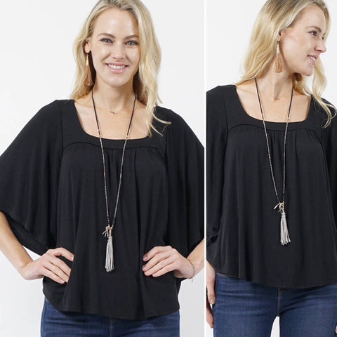 Audrey Soft & Elegant Black Top with Square Neckline