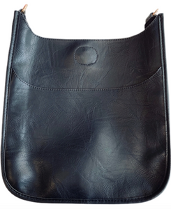 Faux Leather Messenger in Black