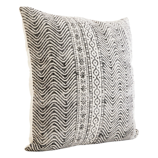 Printed Cushion Cover- White/black