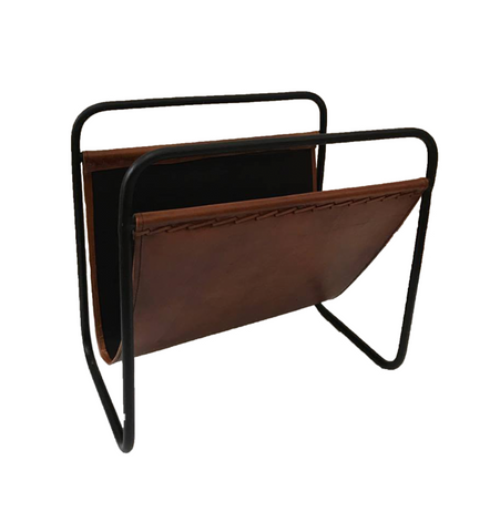 MAGAZINE RACK - BROWN LEATHER