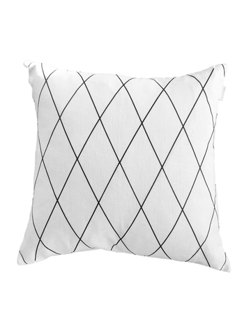 """Girl's Best Friend"" Cushion Cover - White and Black Linen"