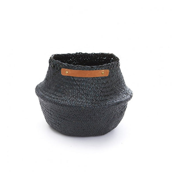 Leather Handle Seagrass Basket - Black