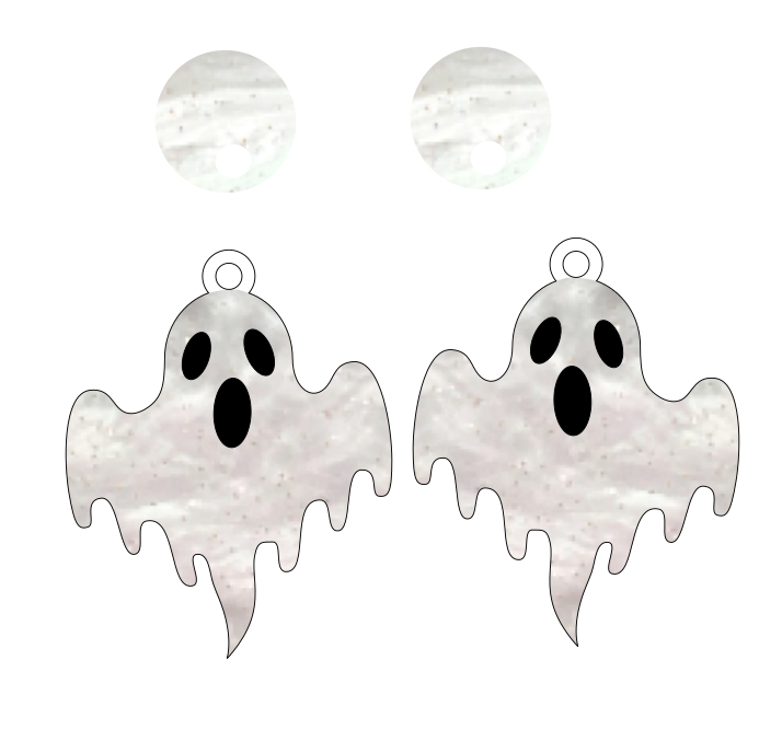 Ohh Ghost Dangles ~ DOUBLE LAYER WITH NO CUTOUT~ YOUR CHOICE OF ACRYLIC