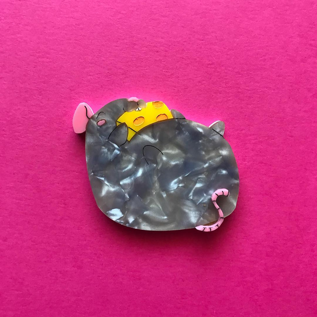 Grey Fat Rat Brooch
