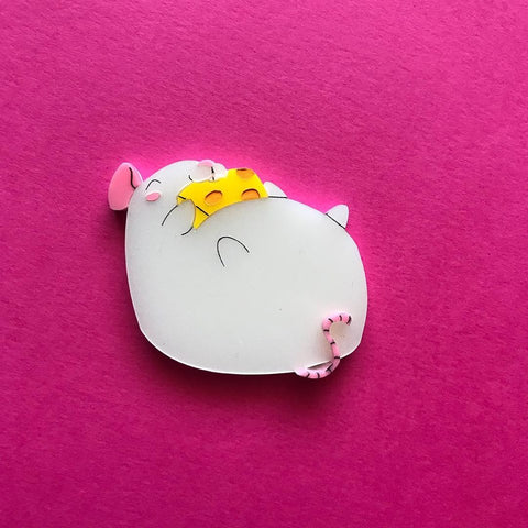 White Fat Rat Brooch
