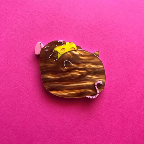 Brown Fat Rat Brooch