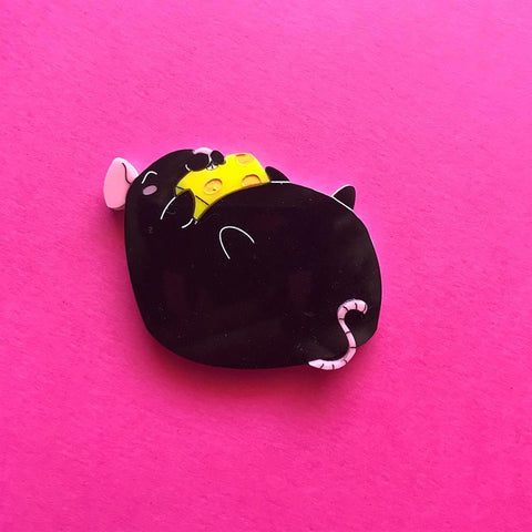 Black Fat Rat Brooch