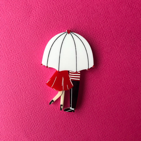 Our lovers in the rain brooch
