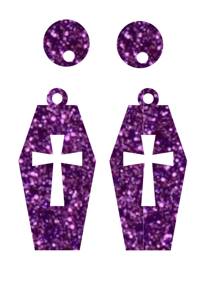 Coffin Dangles ~ SINGLE LAYER WITH CUTOUT~ YOUR CHOICE OF ACRYLIC