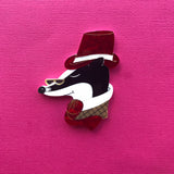 Mr Badger Brooch