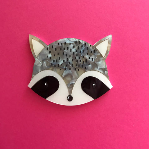 Rhonda Raccoon Brooch