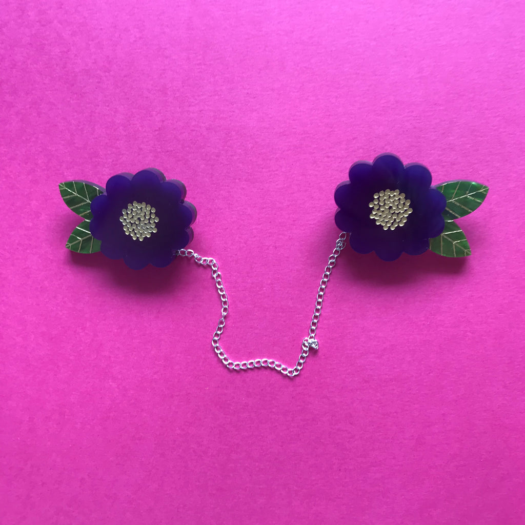 Beauty Blossom Cardigan Clips ~ Purple