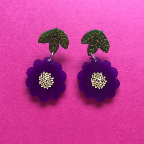 Beauty Blossom Dangles ~ Purple