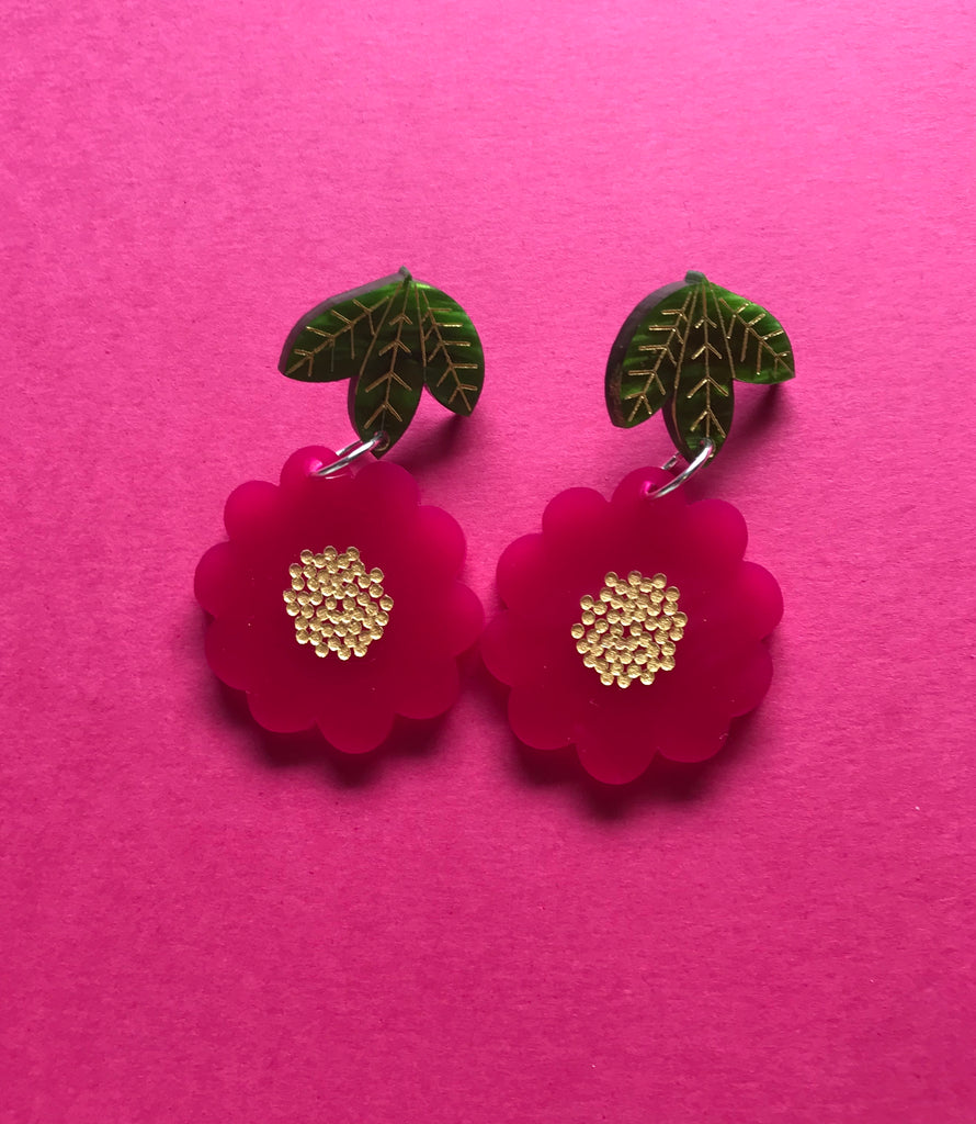 Beauty Blossom Dangles ~ Crimson Pink
