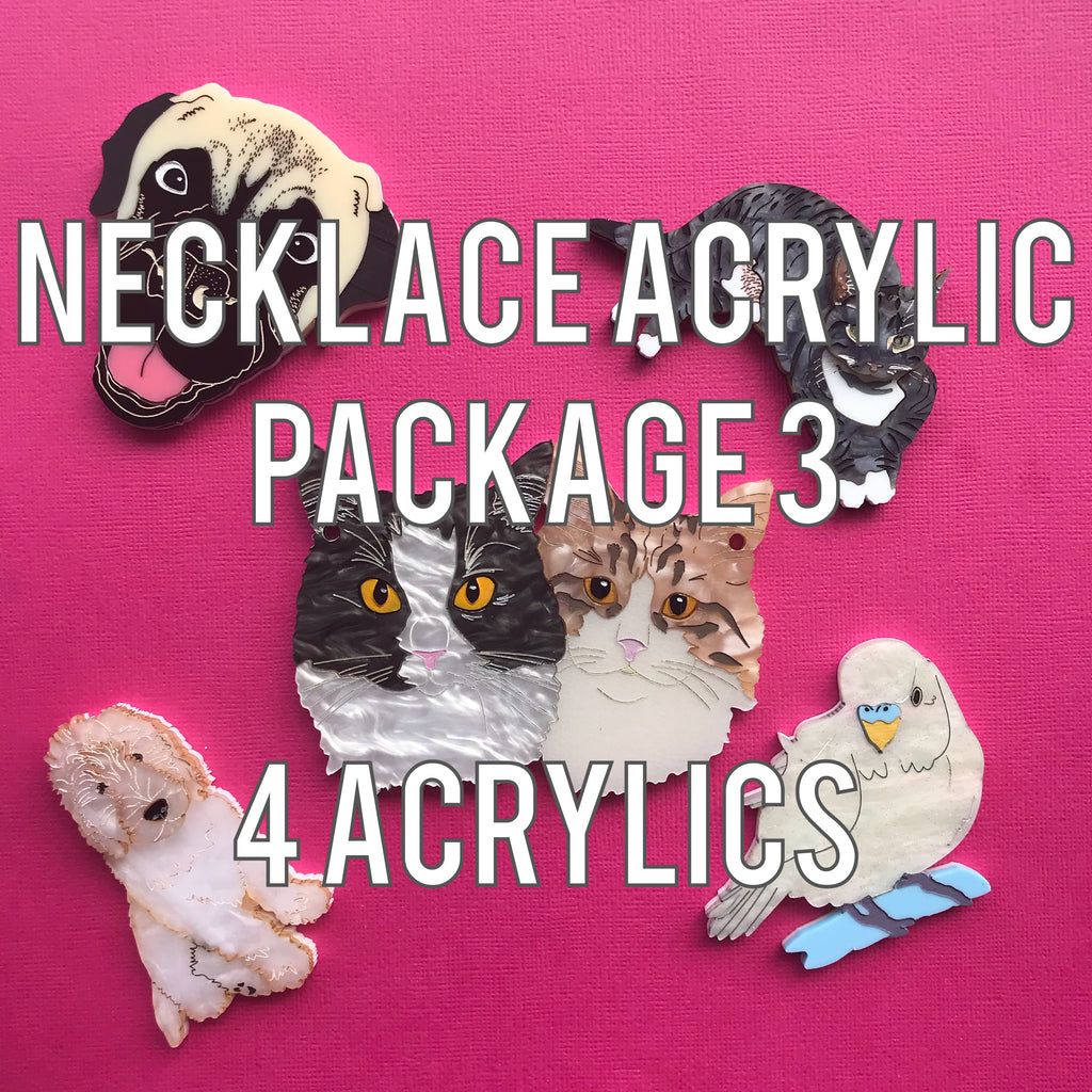 Necklace Acrylic Package 3 - 4 acrylics: 1 back and 3 top acrylic colour