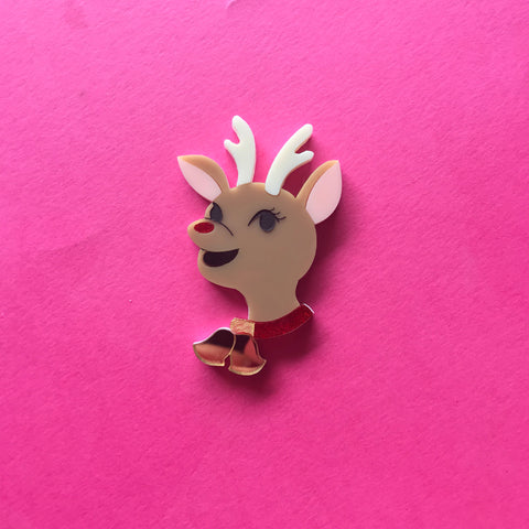 Rudolf the rednosed Reindeer brooch