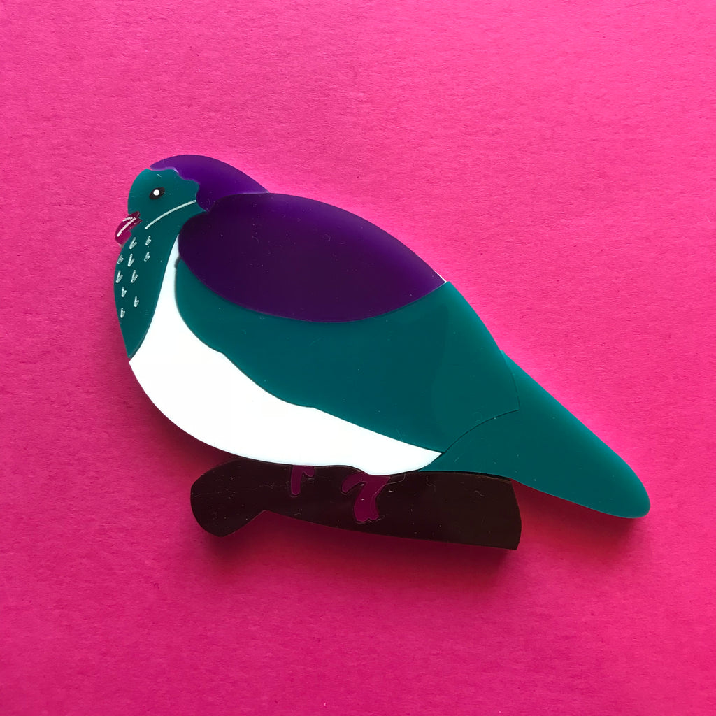 New Zealand Kereru Woodpigeon Brooch