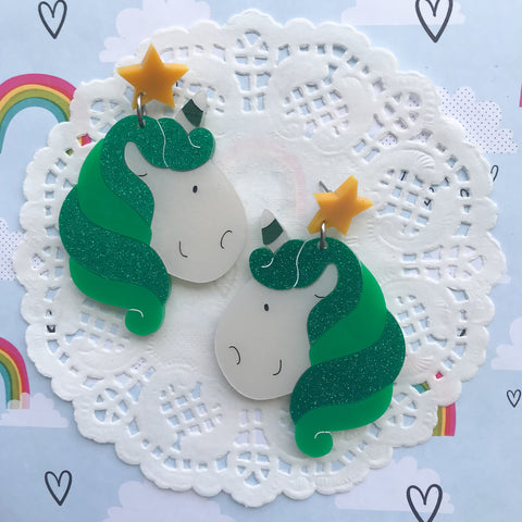 Unicorn Doing Green Earrings