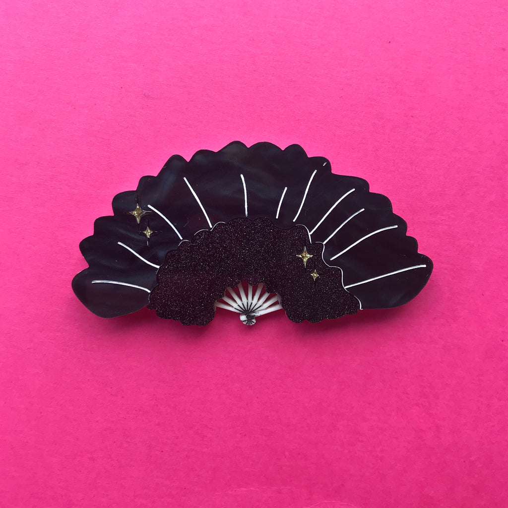 Black Burlesque Feather Fan Brooch