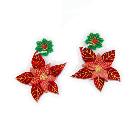 Poinsettia Earrings