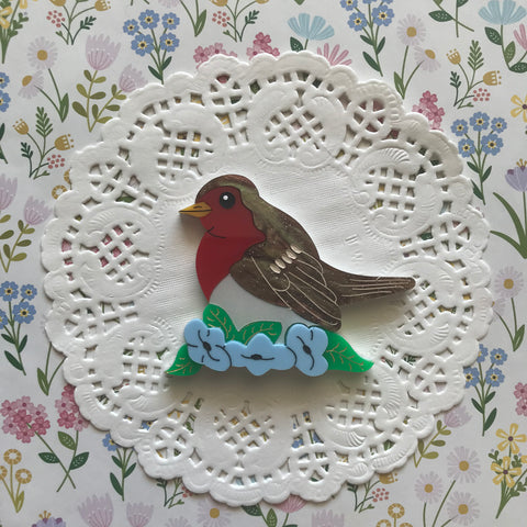 Red Breasted Robin Brooch