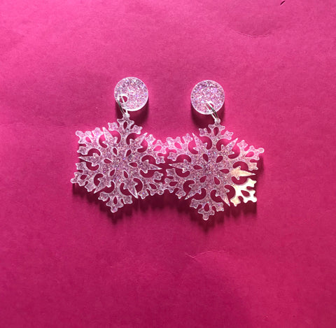 Snow Glitter Snowflake Earrings