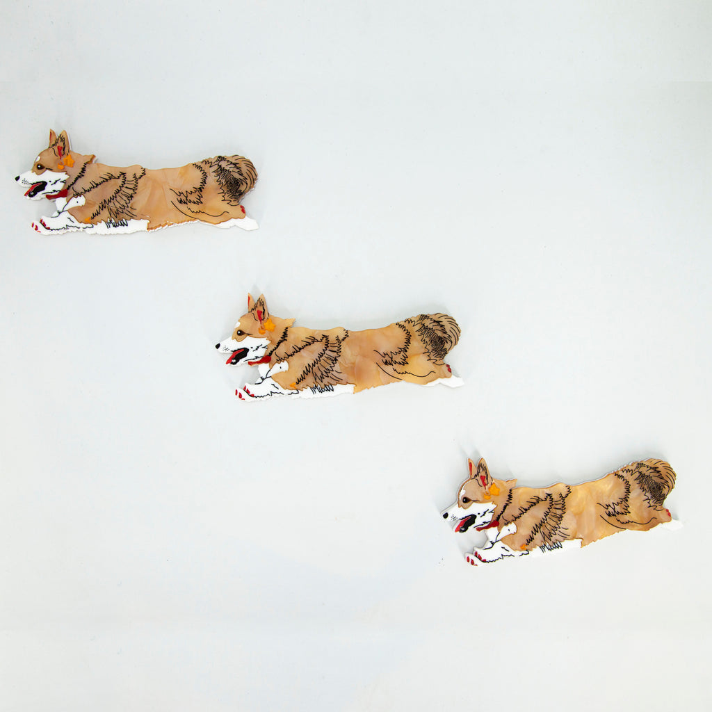 Charlie the Flying Corgi Wall Hanging - Tan