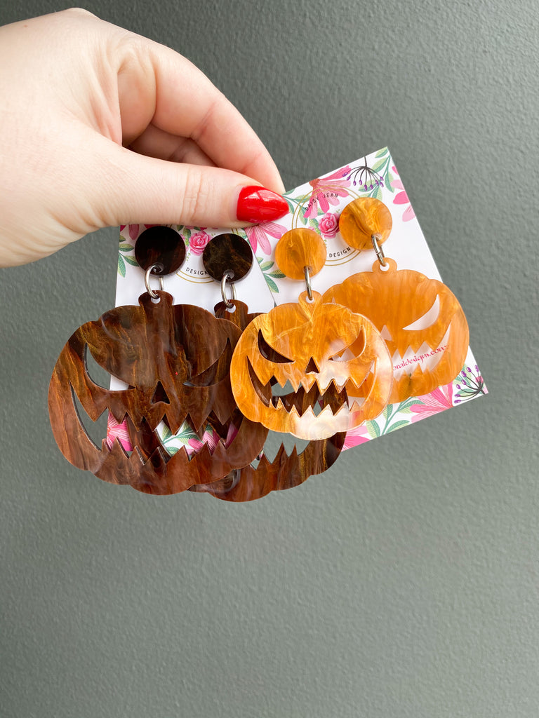 Jack O Lantern Dangles ~ SINGLE LAYER WITH CUTOUT~ YOUR CHOICE OF ACRYLIC
