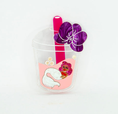 Bubble Tea Mermaid Brooch