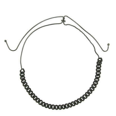 3 Layered Beaded Necklace (Rhodium)