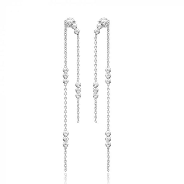 Beaded Thread Earrings (Rhodium)