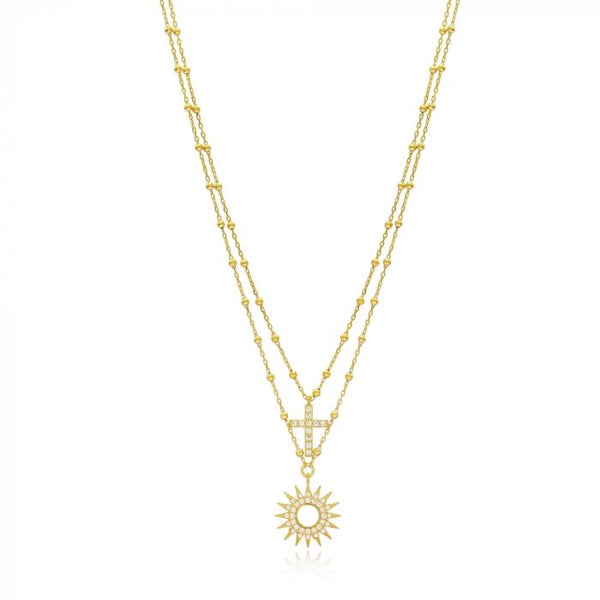 Gold Sun And Blessed Necklace
