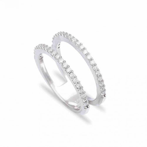 Silver Simple Double Ring