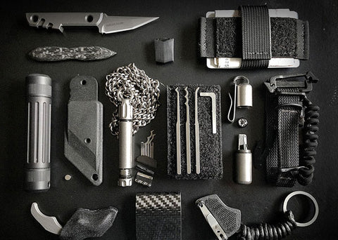 Everyday Carry Flat Lay Grey Gear