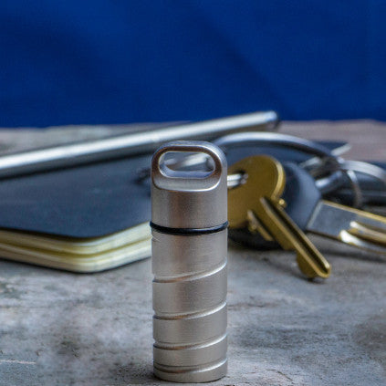 Stainless Steel Key Safe Keychain Cache on Floor