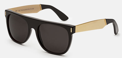 RetroSuperFuture Sunglasses Flat Top Francis Black Gold