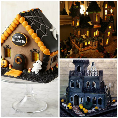 Spooky Haunted mansions out of gingerbread