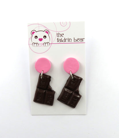 Chocolate Bar Dangle Earrings - Pink Edition