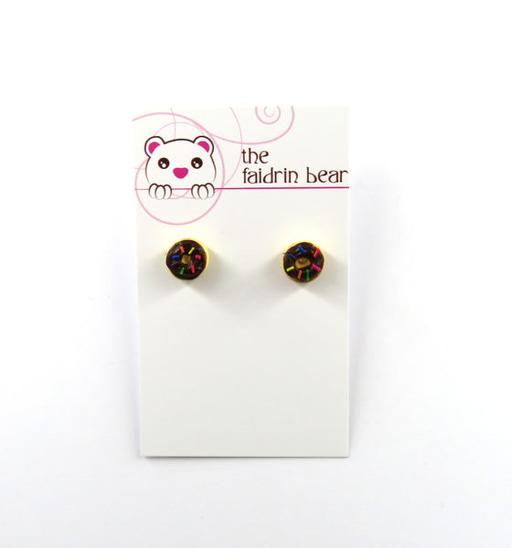 Chocolate Donuts with Sprinkles stud earrings